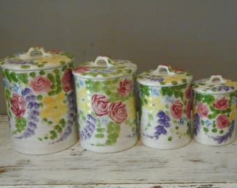 Jardine by Tabletops Unlimited set of 4 canisters / discontinued Jardine ceramic kitchen ware / floral hand pained canister set