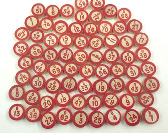 Vintage Wooden Bingo Game Pieces with Red Numbers and Letters Set of 71