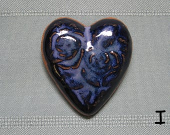 Heart Fridge Magnet with Rose Design - Navy Blue - Stoneware Handmade Pottery Best Friend BFF Gifts Party Favors Wedding Favors