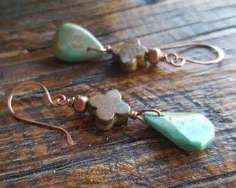 Genuine Turquoise Earrings  - Teardrop - Copper - Cross - Santa Few - Western Jewelry - Cowgirl Earrings - Rustic