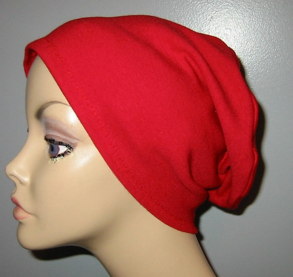 Red  Knit Chemo Cap Wear it 2 Ways  Cancer Hat, Alopecia, Modest Hat,