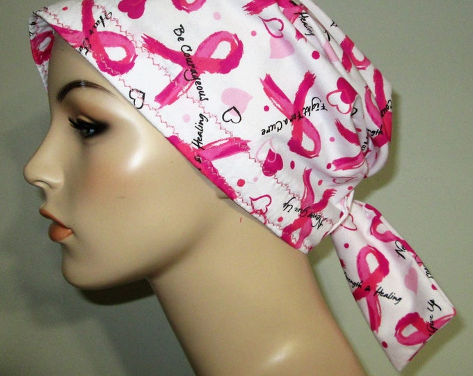 Featured listing image: Scrub Cap  Chemo Cap Breast Cancer Words of Hope Cancer, Chemo Hat, Turban, Hair Loss