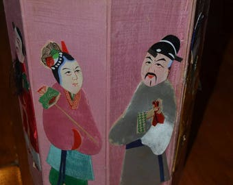 Vintage Mid Century Pink Silk and Paper Asian Chinese Folding Waste Paper Basket Trash Can 8 Immortals