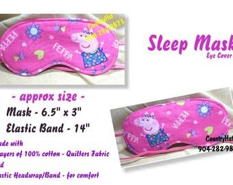 SLEEP MASK eye cover - PEPPA Pig -- will help you fall asleep / travel mask sleeping eye cover
