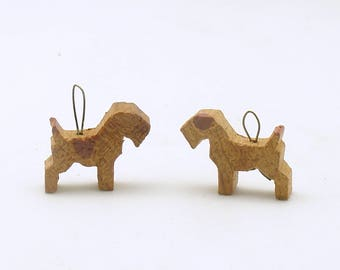 Vintage Scottish Terrier Ornaments Wood Charms Beads Scotties Scottys