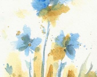 Blue Flower Painting, Original Watercolor Art, Tiny House Art, small format art, Petite Sweets