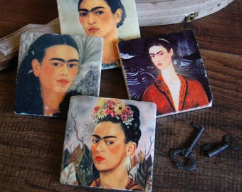 Frida Kahlo - mexican folk art artist - stone coaster set
