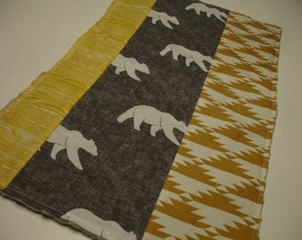 Rustic Bears Vintage Yellow Gray Baby Burp Cloth 12 x 21 READY TO SHIP