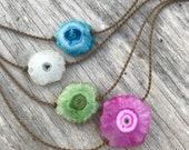 solar quartz stalactites / handspun rope necklace / waterproof / kid-proof / life-proof / bohemian / gypsy / tula blue