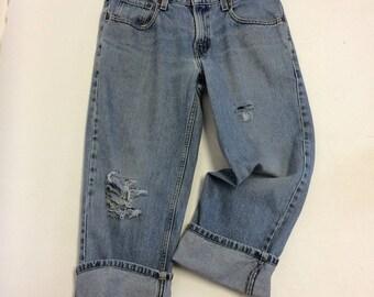31 Raw Destroyed Vintage Levi Cropped Boyfriend  jeans 31 waist denim jeans