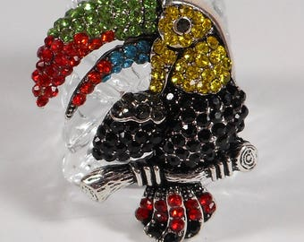 Beautiful Rhinestone Covered Tropical Parrot Brooch,Colorful Rhinestone Covered Coastal Parrot