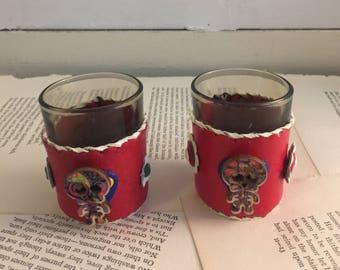 2 Vintage Leather Glass Skeleton Shot Glasses FREE US Shipping