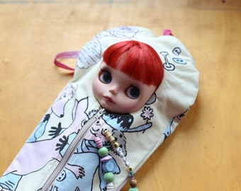 MOOMIN Blythe Sleepsack from PINKKIS Protective Carrying Pouch Featuring Vintage Finnish Moomin Fabric