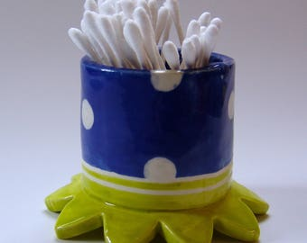 whimsical pottery Bathroom (or Desk) storage Cup, cotton swab holder :) beautiful delft blue ceramic, polka-dots home decor