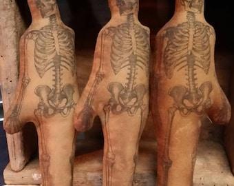Primitive Halloween standing skeleton  bowl or basket fillers.  WOW
