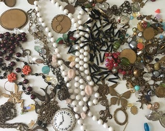 One Pound Plus - Destash Mix Vintage Inspired Jewelry Supplies Beads Brass Charms Cameos Resin Flowers