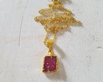 Pink Quartz Tiny Drusy Pendant Necklace 14k Gold Vermiel Chain