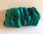 Recycled Silk Sari Ribbon-Undyed Teal Mix Sari Ribbon-10 Yards