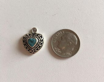 Heart Charm-Sterling Silver Charms-Filigree Heart With Blue Quartz