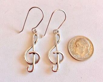 Sterling Silver Earrings-Treble Clef Earrings