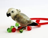 African Gray Parrot Christmas Ornament Grey Bird Small Tree Decor Red Swarovski Crystal Wire Wrapped by Hendywood