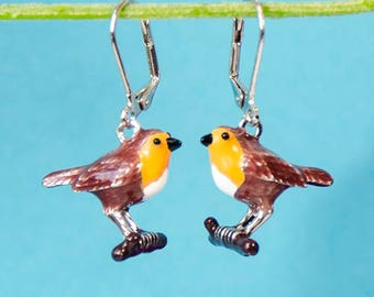 Handmade Robin Earrings, bird earrings with enamelled pendant