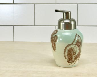 Pale green celadon glazed porcelain foam soap dispenser/ foaming soap dispenser with butterflies and brushed nickel pump