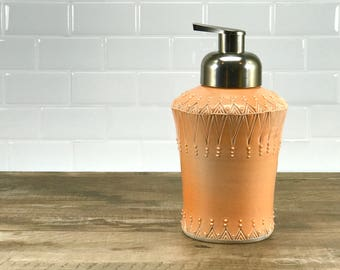 Foam soap dispenser, orange, peach soap dispenser, foaming soap dispenser, ceramic dispenser, bathroom accessory and brushed nickel pump