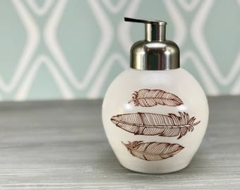 Foaming soap dispenser. White porcelain foam soap dispenser. Handmade soap dispenser. Ceramic dispenser with boho decor, brushed nickel pump