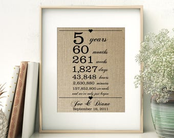5th Wedding Anniversary Gift for Wife Husband | 5 Years Together | Years Months Weeks Days Hours Minutes Seconds | Personalized Burlap Print