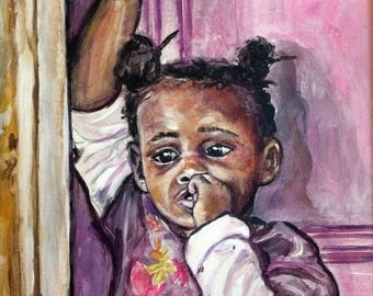 Original Painting - Wall Art Children - Ethnic Art - Paintings Bahamas - Nichols Town - Andros Island - Bahamas - Portrait Art