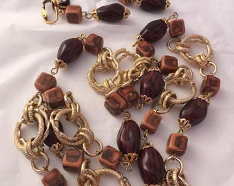 Brown warm neutrals earth tones lightweight clip on earrings and necklace set