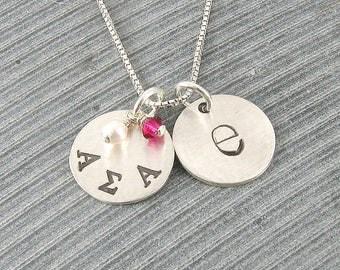 Alpha Sigma Alpha Necklace, ΑΣΑ Sorority Sterling Silver or 14K Gold Filled Lowercase Monogram Pendant,ΑΣΑ Bid Day,Initiation/OLP