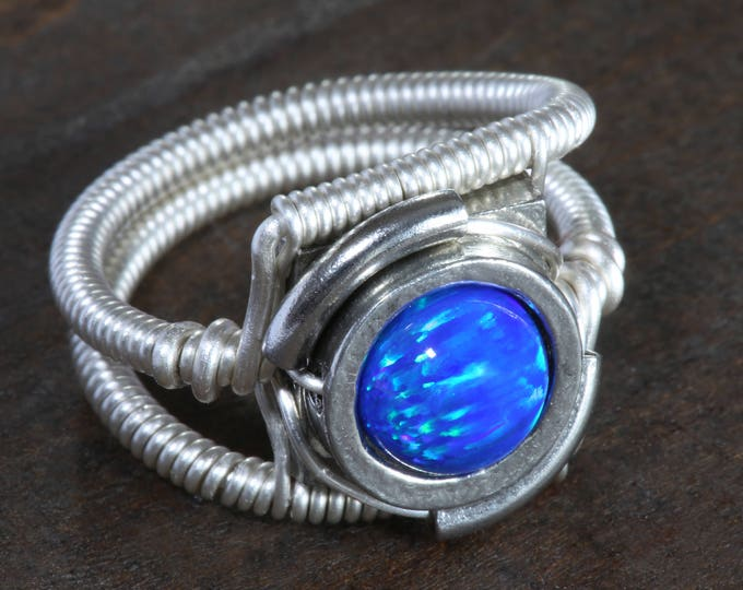 Steampunk Jewelry - Ring - Blue LAB created OPAL