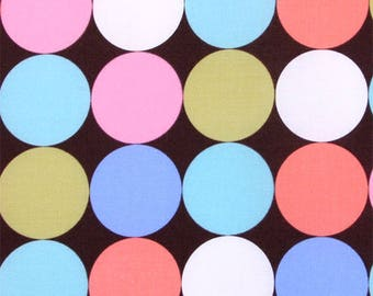 OOP Michael Miller Fabric by the Yard - Disco Dot in Brown Multi Dot - Pink Blue Green Aqua Peach Polka Dots
