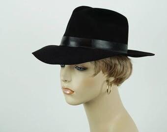 Janessa Leone Ladies Southwestern Style Fedora Black Sz S 21 1/2