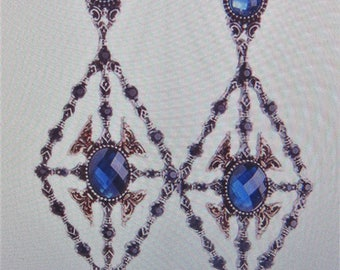 Silver with blue rhinestone dangle earrings