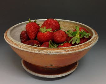 Pottery Berry Bowl. Colander. Fruit Bowl. Soda Fired Stoneware Pottery (#1)