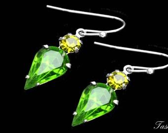 Vintage Swarovski Earrings, Green Rhinestone Crystal Teardrop Dangle Jewelry