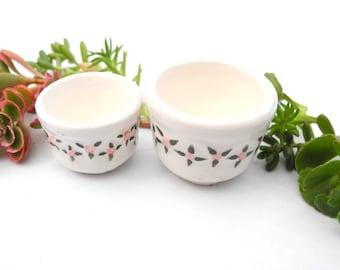 Miniature China Flower Pot Set with Sedum Cuttings, Authentic Glazed Porcelain Pots, Hand Painted, Authentic Dollhouse Garden Miniatures