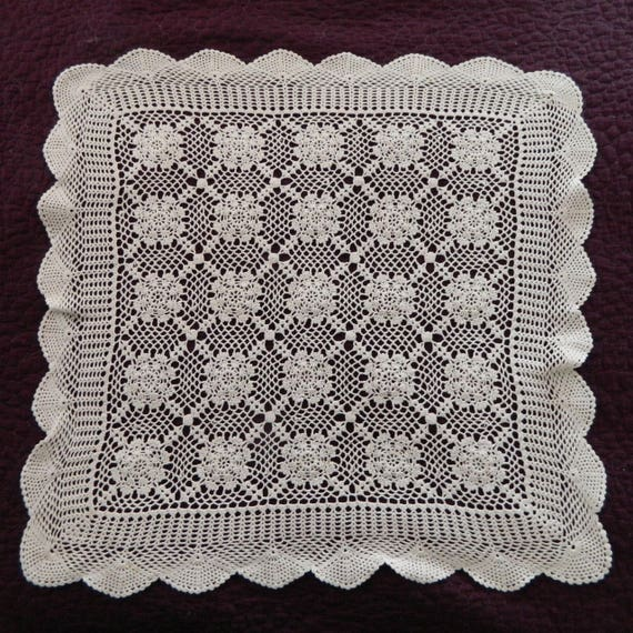 """Vintage White Cotton Crocheted Table Square 32"""""""