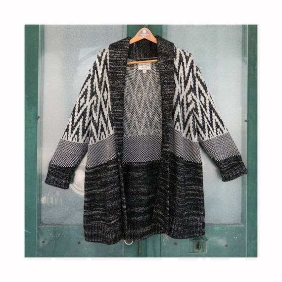 Lucky Brand Long Cardigan Sweater -3X- Black-Natural-Gray Cotton/Wool