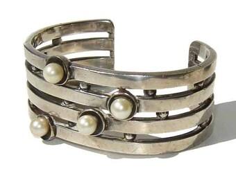 Antonio Pineda Bracelet Modernist 970 Silver & Cultured Pearls Cuff TAXCO Eagle 17