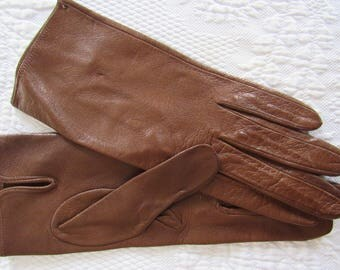 Vintage Brown Leather Gloves Size XS -Small Wrist Length Special Occasion Dress Costume Driving Kid Leather