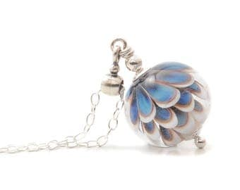 Glass Pendant Necklace | Blue and White Necklace | Petal Collection Lampwork Jewellery | Flameworked Glass Pendant Sterling Silver | UK