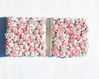 Paper flower wall art etsy pink white rose paper flower wall decor set of 2 6 x 6 mightylinksfo