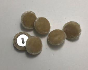 """Beige SILK VELVET Fabric Buttons - Hand Made Buttons - set of 6 - 5/8"""""""