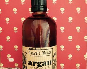 Organic Argan Oil. Cold pressed. Fantastic for Skin, Hair, Nails. Argan Oil for Face. Argan Oil for Hair. Moroccan Argan Oil.