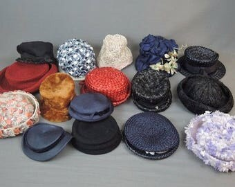 Lot of 16 Vintage Hats 1960s 1970s, Straw, Wool, Felt, Floral, Very Good Hat Lot
