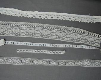 Antique Ribbon Lace, Edwardian Lace & Eyelet Vintage Dress Trim, 5 Pieces Remnants